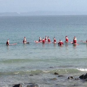 Santas surfing the Noosa National Park